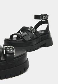 Bershka - Platform sandals - black - 5