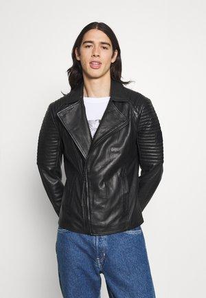 JUNUS SOFT - Leather jacket - black