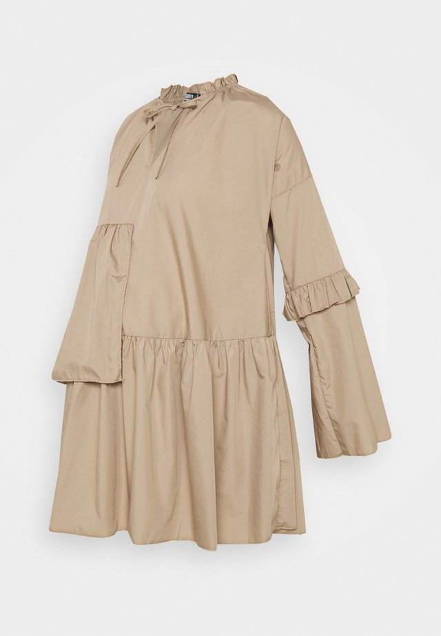 RUFFLE PANEL DRESS - Day dress - brown