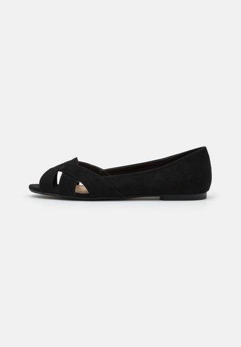 Peeptoe ballet pumps - black