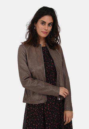 PRESTIGE - Leather jacket - mottled brown