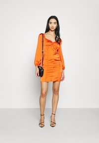 Glamorous - CARE BUTTON THROUGH MINI DRESS WITH PUFF LONG SLEEVES AND SWEETH - Cocktail dress / Party dress - rust - 1