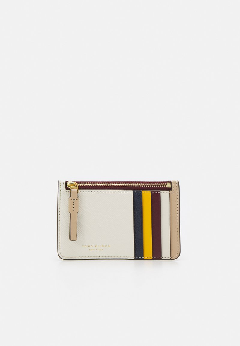 Tory Burch - PERRY COLOR BLOCK TOP ZIP CARD CASE - Wallet - new ivory /perfect sand