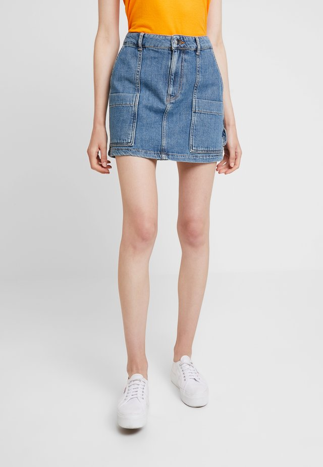 SKIRT - A-line skirt - washed indigo