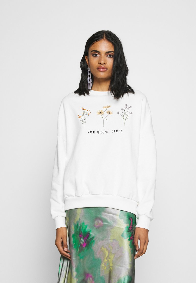 Even&Odd - FLOWER  PRINTED SWEATER - Sweatshirt - white