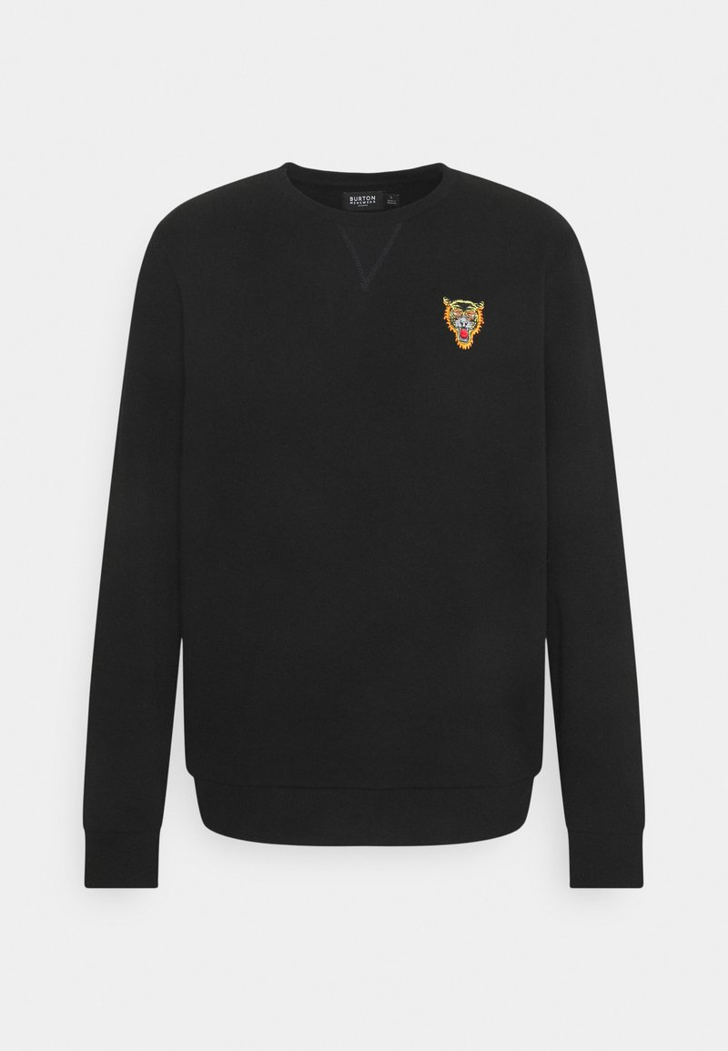 Burton Menswear London - TIGER EMBROIDERED CREW - Sweatshirt - black