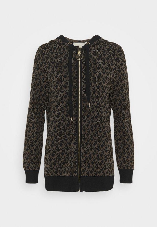 LOGO ZIP HOODI - veste en sweat zippée - black/dark camel