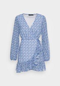 FLORAL PRINT WRAP DRESS - Day dress - blue
