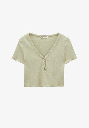 GERIPPTES CROPPED-SHIRT MIT KNÖPFEN - Basic T-shirt - green
