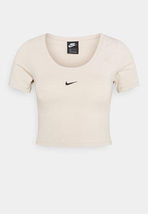 CROP - T-shirt z nadrukiem - oatmeal/black