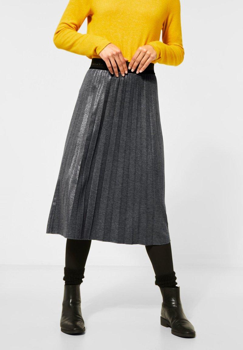 Street One - MIT GLITZER COATING - A-line skirt - grau