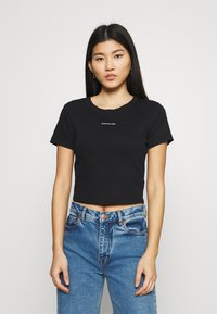 Calvin Klein Jeans - MICRO BRANDING CROP - T-shirt basic - black - 0