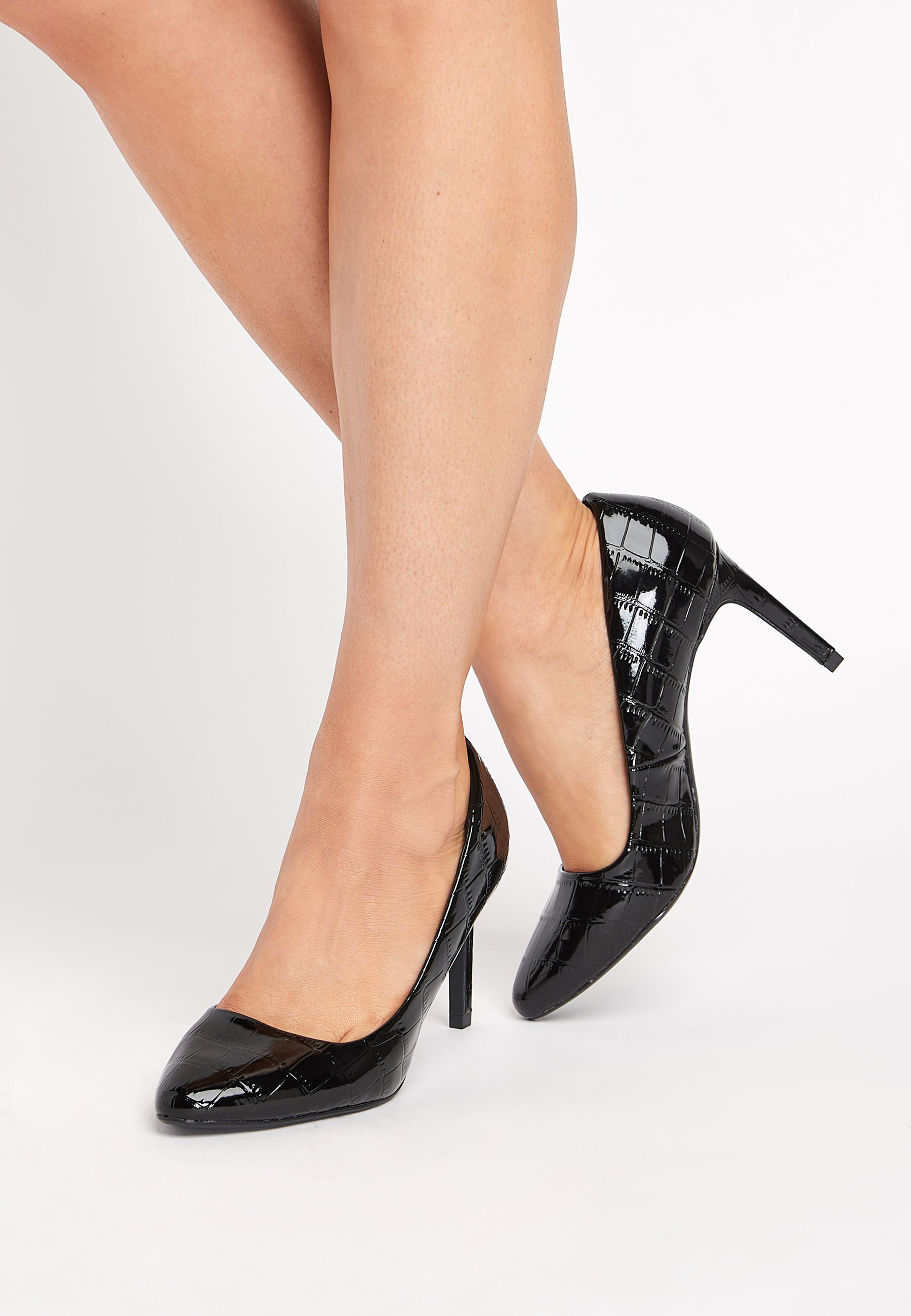 Femme BLACK ALMOND TOE COURT SHOES - Escarpins à talons hauts