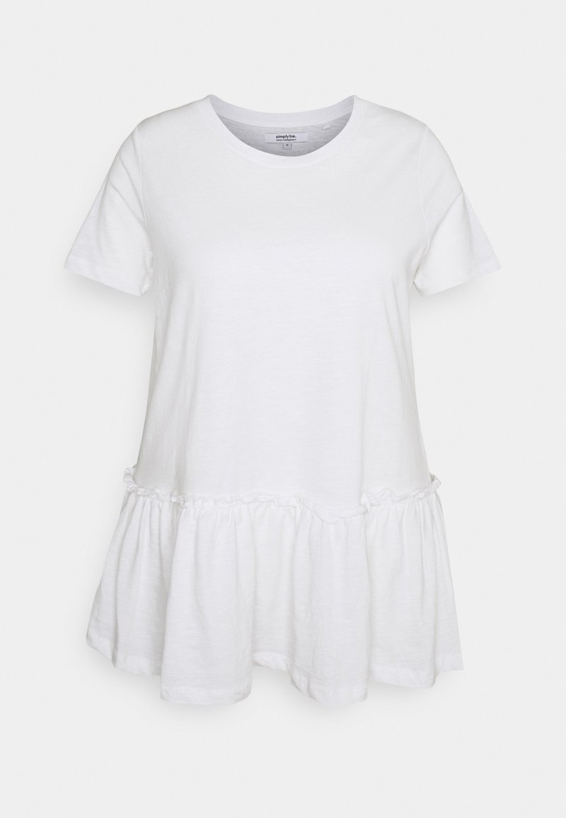 Simply Be - TIERED - Print T-shirt - white