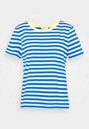 RELAXED STRIPE TEE - Print T-shirt - blue/white