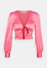 Glamorous - LACE UP FRONT BLOUSE - Blůza - candy pink - 0