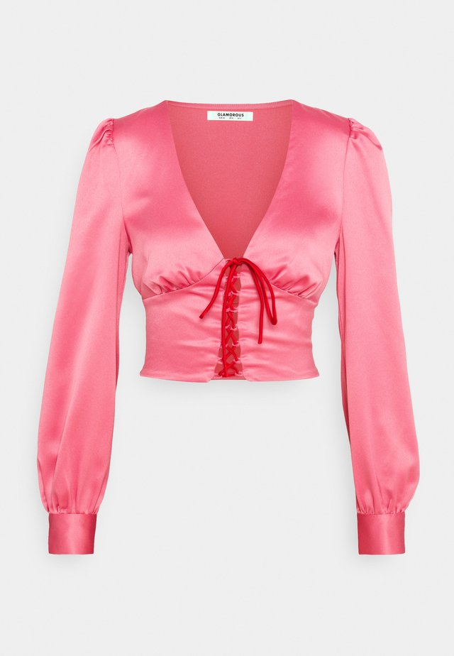 LACE UP FRONT BLOUSE - Blus - candy pink