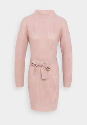 ROLL NECK BASIC DRESS WITH BELT - Jumper dress - pale pink