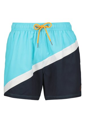 TURQUOISE COLOURBLOCK SWIM SHORTS - Plavky - blue