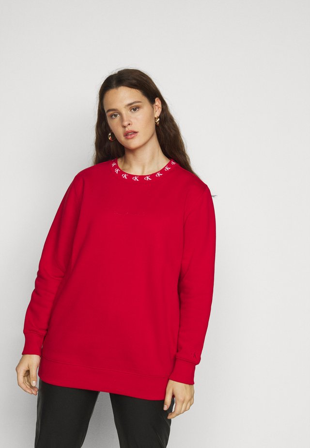 PLUS CK LOGO TRIM NECK  - Sweatshirt - red