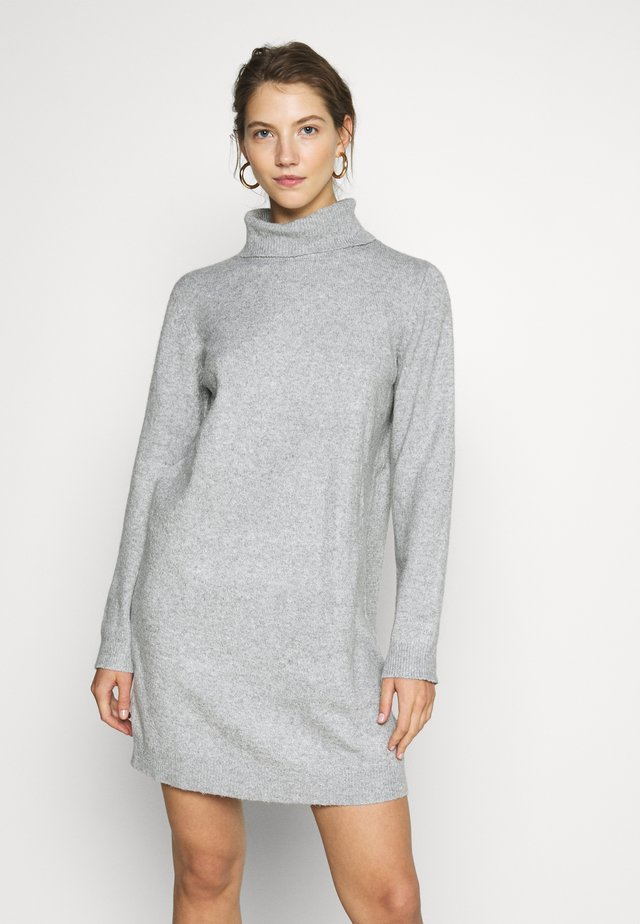 JDY BRILLIANT ROLLNECK - Abito in maglia - light grey