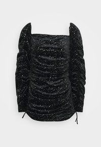 Missguided Petite - TIE SLEEVE RUCHED GLITTER DRESS - Cocktail dress / Party dress - black - 0