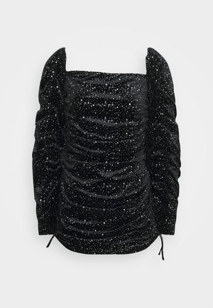 TIE SLEEVE RUCHED GLITTER DRESS - Cocktail dress / Party dress - black
