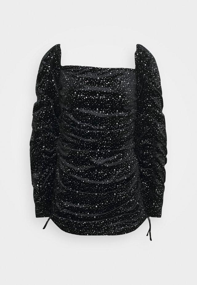 TIE SLEEVE RUCHED GLITTER DRESS - Robe de soirée - black