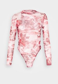 Missguided Petite - ORIENTAL GRAPHIC HIGH NECK MESH BODY - Long sleeved top - pink - 0