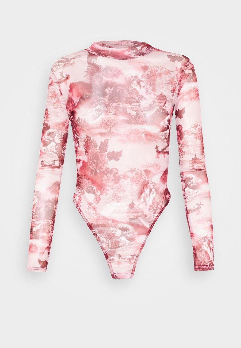 Missguided Petite - ORIENTAL GRAPHIC HIGH NECK MESH BODY - Long sleeved top - pink