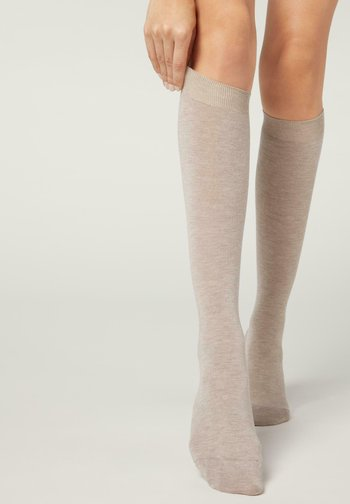 LANGE MIT  - Knee high socks - sabbia mel.