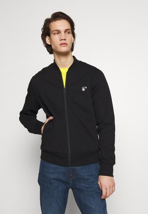 BOMBER - veste en sweat zippée - black