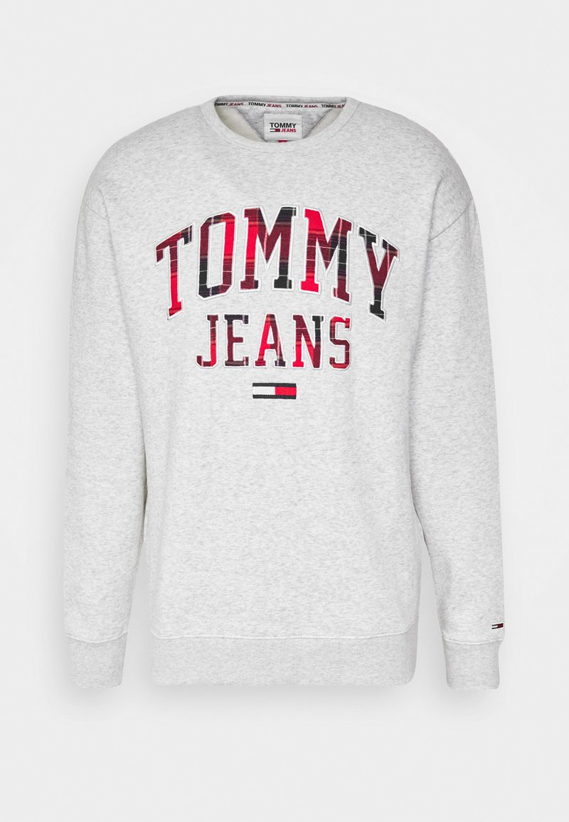 Tommy Jeans - PLAID GRAPHIC CREW - Sweatshirt - silver grey