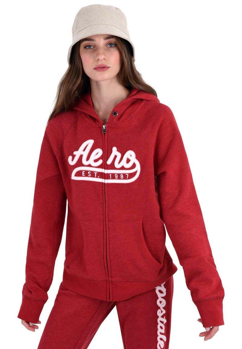 AÉROPOSTALE - Zip-up hoodie - red