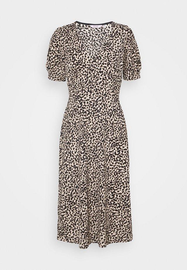 ANIMAL PRINT FOCHETTE MIDI DRESS - Korte jurk - tan