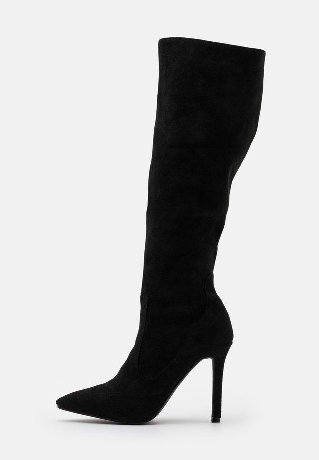 ZYDA - Kozačky na vysokém podpatku - black