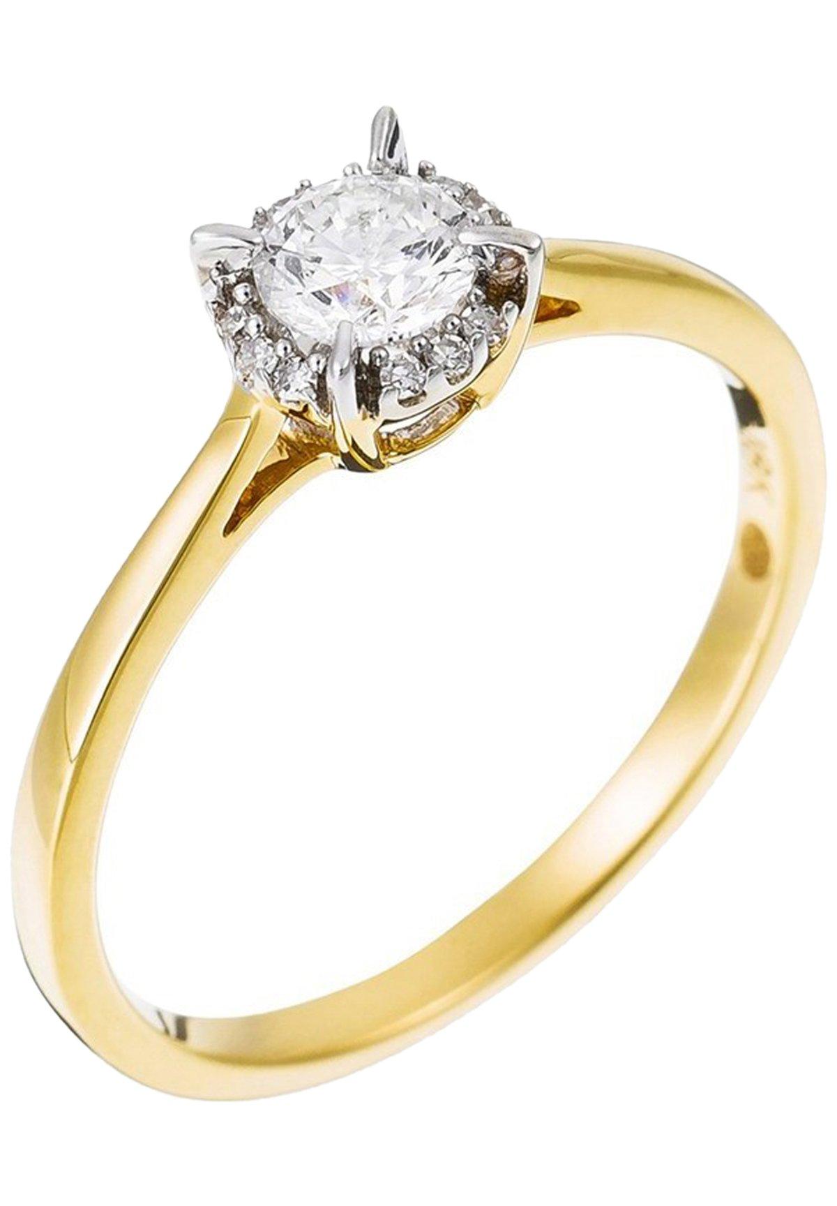 Damen 18K YELLOW GOLD RING  CERTIFIED 13 DIAMONDS HSI AND 12 DIAMONDS 0.03 CT - Ring
