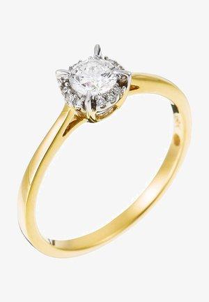 18K YELLOW GOLD RING  CERTIFIED 13 DIAMONDS HSI AND 12 DIAMONDS 0.03 CT - Ring - yellow