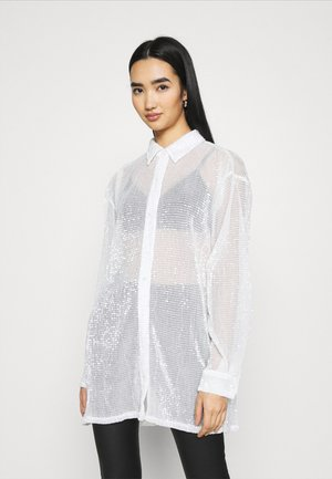 OVERSIZE SPARKLE - Button-down blouse - white