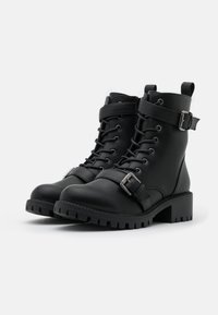 Rubi Shoes by Cotton On Wide Fit - WIDE FIT DUA LACE UP BUCKLE BOOT - Stivaletti texani / biker - black pebble - 2