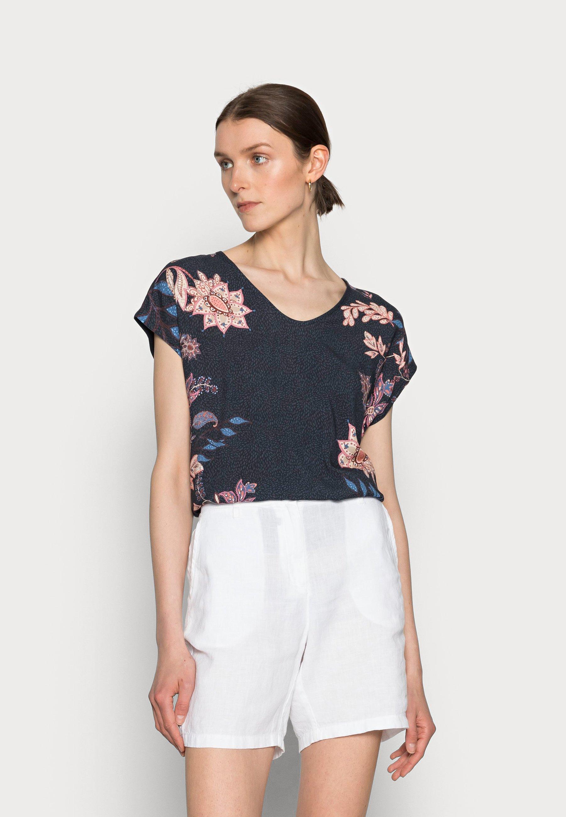Damen FABRIC MIX V-NECK - T-Shirt print