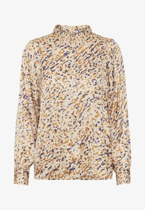Button-down blouse - abstract leo print, neutral