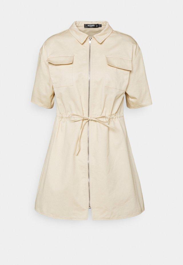 ZIP THROUGH DRAW WAIST DRESS - Shirt dress - nude rose