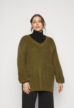 VMTUVILMA LONG SLIT - Jumper - fir green