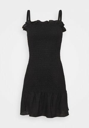 SMOCKED BODY MINI DRESS WITH NARROW STRAPS - Shift dress - black