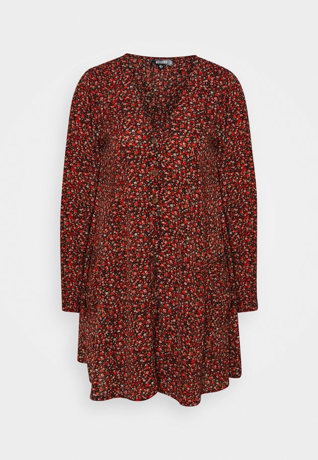BUTTON THRU SMOCK DRESS FLORA - Sukienka letnia - red