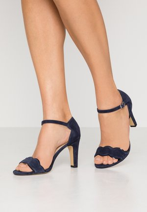 LEATHER - High heeled sandals - dark blue