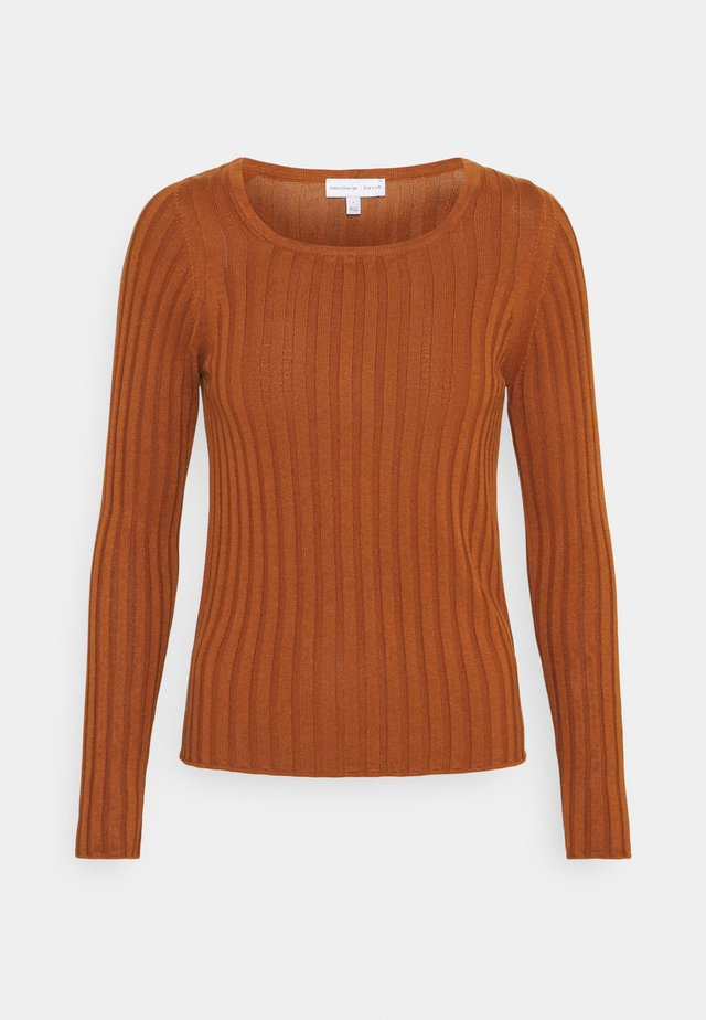 ASYMMETRIC RIBBED  - Maglietta a manica lunga - burnt orange