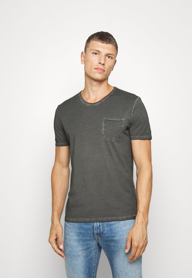SHORT SLEEVE RAW - T-shirts - gray pinstripe