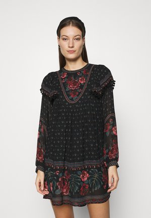 EMBROIDERED FLORAL MINI DRESS - Denní šaty - multi